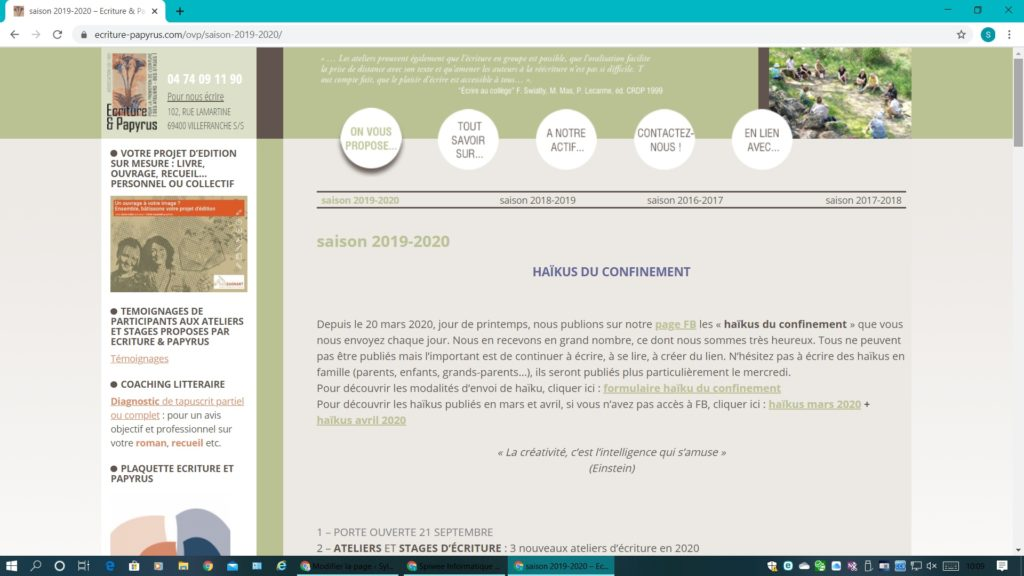 site Ecriture et Papyrus composition graphique Cecile Caramelli Gestion technique Nathalie Grillot Contenu rédactionnel Sylvie Callet