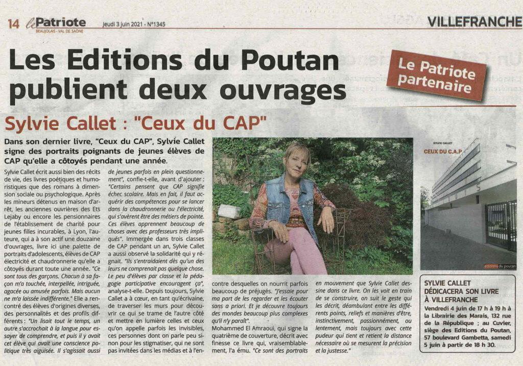 """Article de Presse """"Ceux du C.A.P"""" Recueil de portraits d'élèves Lycée Villefranche-sur-Saône - Le Patriote Beaujolais"""